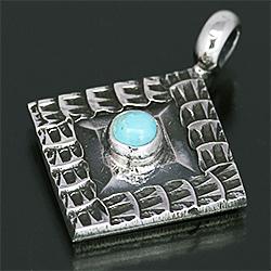 ナバホ族 Sunshine Reeves ターコイズ ダイヤ ペンダント